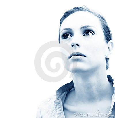 Free Pensive Woman Blue Tint Stock Image - 1807461