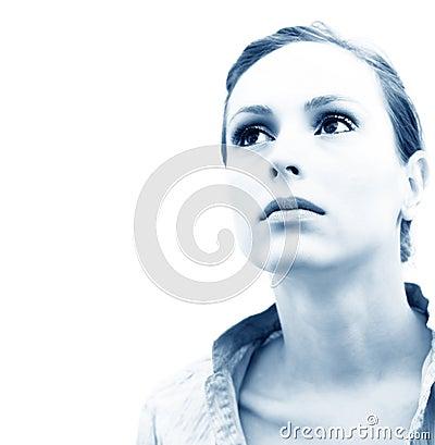 Pensive Woman Blue Tint