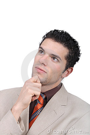 Pensive young businessman portrait