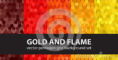 Pentagon pattern set Gold and Flame Vector Illustration