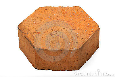 Pentagon shaped brick on white isolation