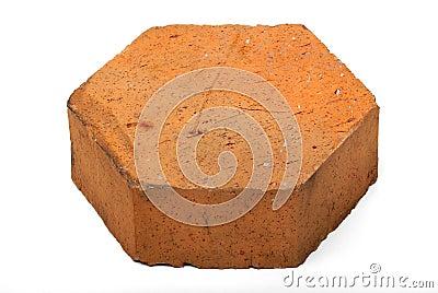 Pentagon shaped brick on white isolation