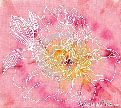Peony flower on batik background