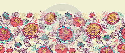 Peony flowers and leaves horizontal seamless