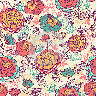 Peony flowers and leaves seamless pattern
