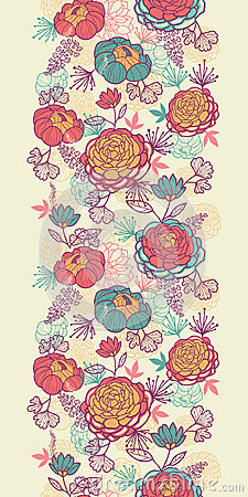 Peony flowers and leaves vertical seamless pattern