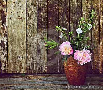 Peony flowers in vase on wood.