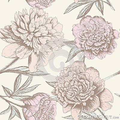 Free Peony Sketch Pattern Stock Image - 32474731
