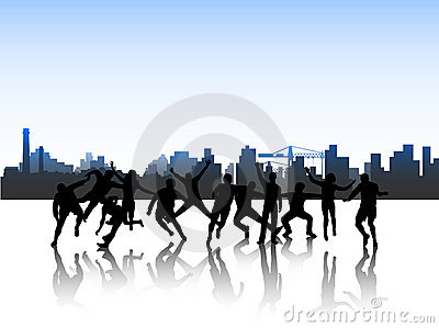 People in action and city