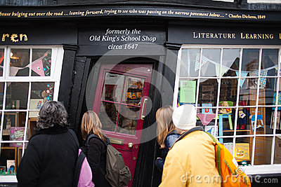 Admiring famous bookstore in Canterbury Editorial Photo