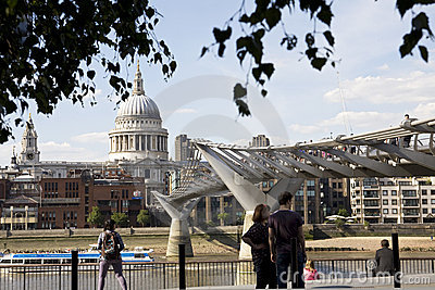 People admiring millenium bridge from London UK Editorial Photography