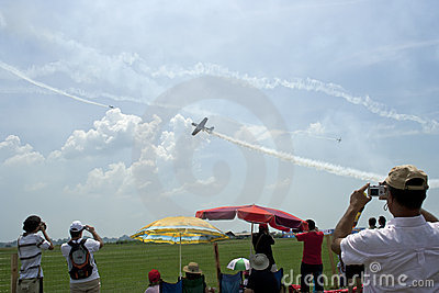 People on aerodrome at an aviation event, raw Editorial Stock Photo