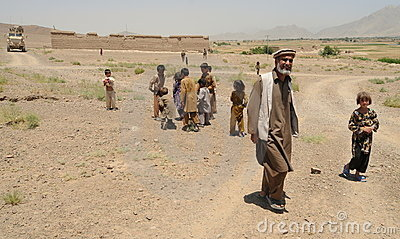 People in Afghan village Editorial Stock Image