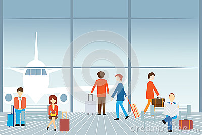 People at the airport. Vector Illustration