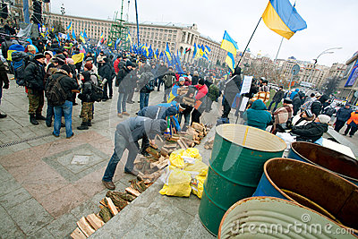 People on the anti-government demonstration occupide main Maidan square in Kyiv Editorial Stock Photo