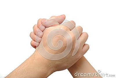 People Arm wrestling