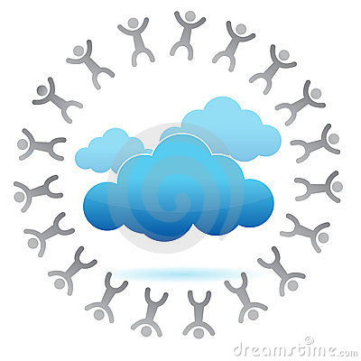 People around a cloud computing concept