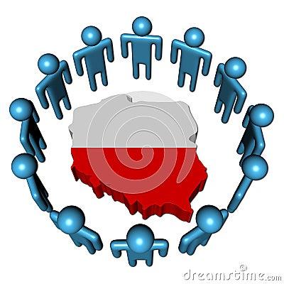 People around Poland map flag