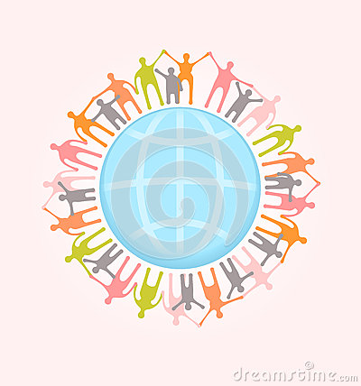 People around the world holding hands. Unity concept illustratio