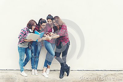 People asian of young and adult people using notebook computer for information, social, technology, network, shopping and educatio Stock Photo