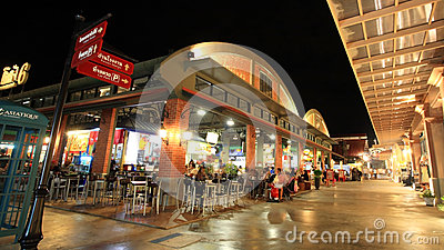 people at Asiatique The Riverfront  outdoor cantene Editorial Stock Image