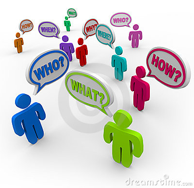 People Asking Questions in Speech Bubbles