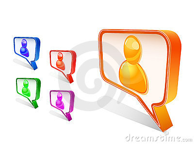 People avatar in chat sign icon set