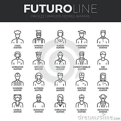 Free People Avatars Futuro Line Icons Set Stock Image - 62806711