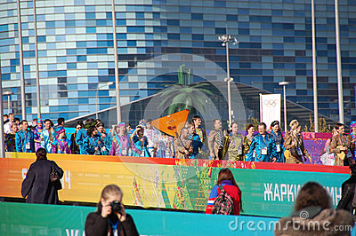 People with balalaika at XXII Winter Olympic Games Editorial Stock Image