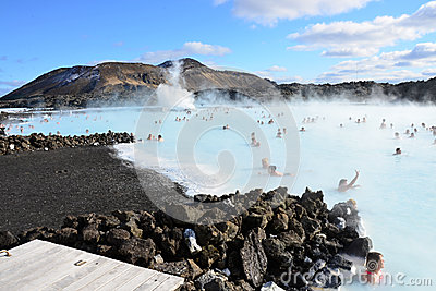 People bathing in the Blue Lagoon Iceland Editorial Stock Image
