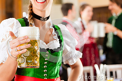 People in Bavarian Tracht in restaurant