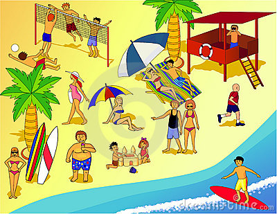 Beach People Clipart 1