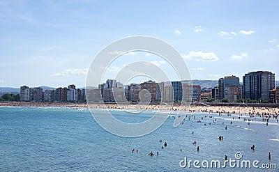 People in the beach of Gijon
