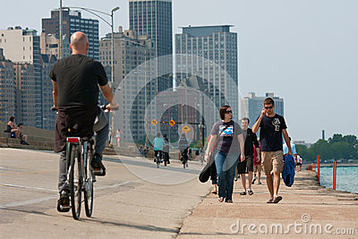 People Being Active Along Chicago Shoreline Editorial Photography