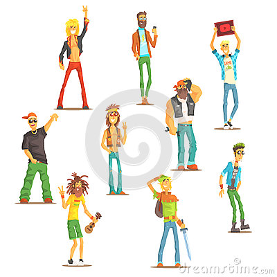 People Belonging To Different Subculture Set Of Recognizable Cartoon Characters With Cultural Group Attributes Vector Illustration