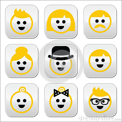 People with blond hair  icons set