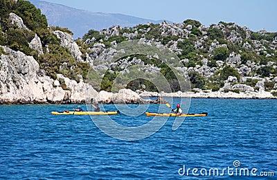 People boating in the sea, near island Kekova Editorial Image