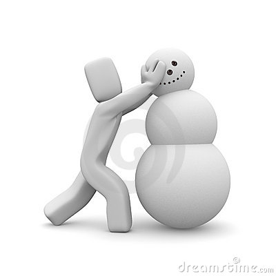 People build the snowman