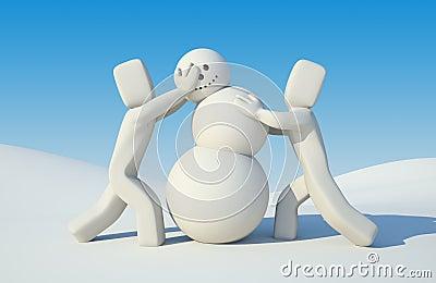People build snowman