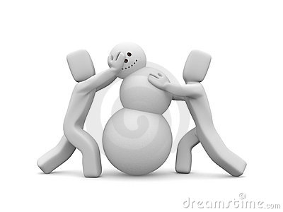 People build snowman. Image contain clipping path