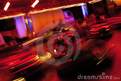 People on bumper car ride
