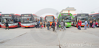people in bus station Editorial Photography