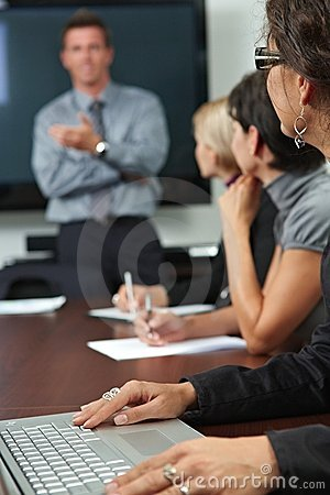 People on business training