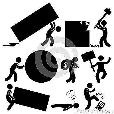 People Business Work Burden Anger Hurdle Roadblock