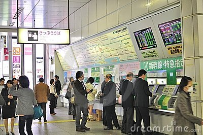 People buying tickets at Akihabara JR station Editorial Photo