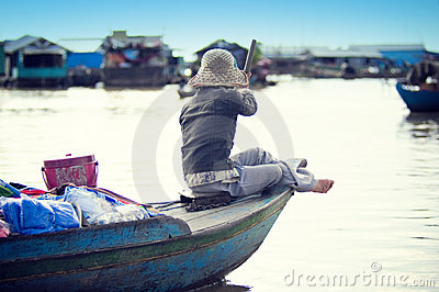 People from Cambodia. Tonle Sap lake Editorial Image