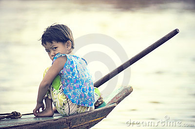 People from Cambodia. Tonle Sap lake Editorial Photography