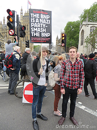 People campaign against the BNP during a BNP protest in Londons Editorial Photo