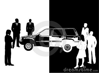People and car