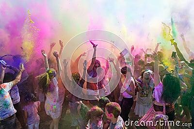 People celebrating Holi Festival of Colors.